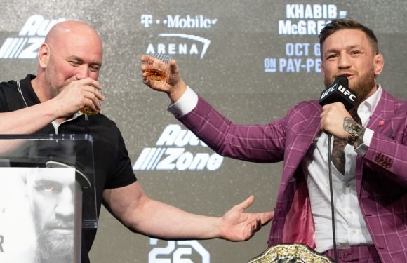 Conor McGregor brings bottle of his own whiskey to press conference