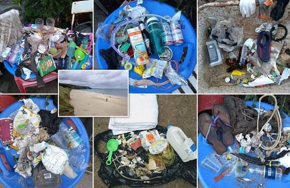 Shocking photos show the rubbish collected from a British beach