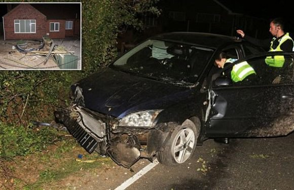Father flees wrecked car but leaves his SON inside after crashing