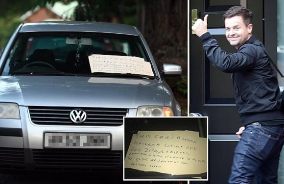 Car alarm goes off for 48 hours outside Declan Donnelly's house