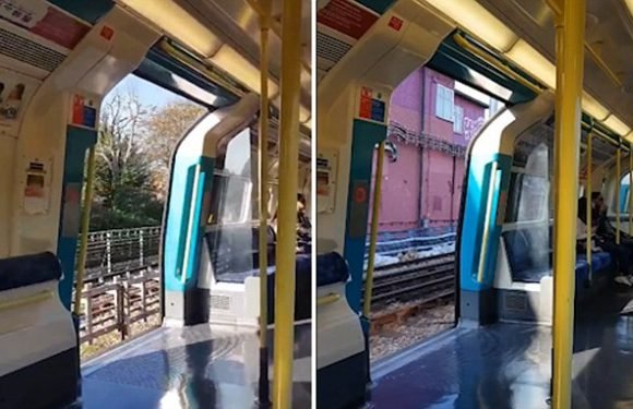 Shocking moment London tube train hurtles along track with doors open