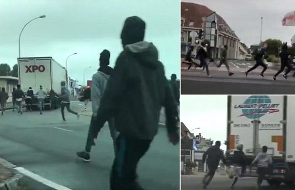 Moment African migrants chase UK-bound vans in sleepy French village