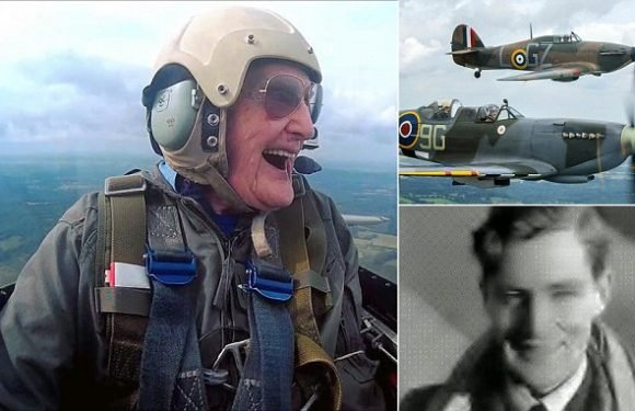 Hero pilot, 99, takes to the skies for the final time – in a Spitfire