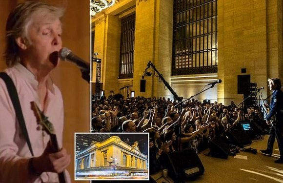 Paul McCartney serenades 300 lucky commuters at Grand Central Terminal