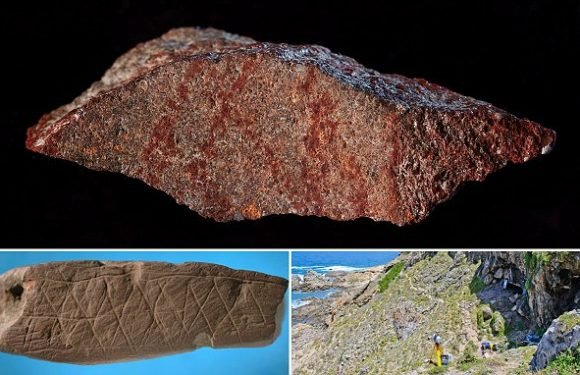 Red pattern scored into stone is earliest evidence of human art