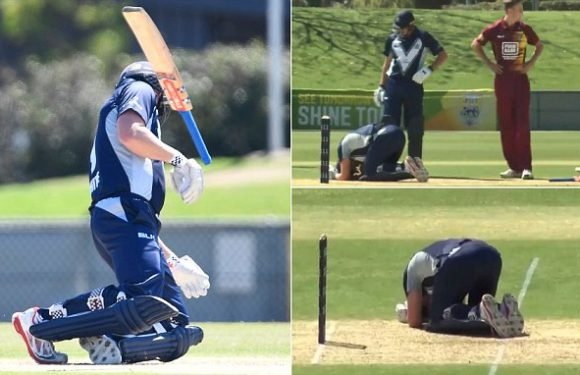 Scary moment cricketer is struck in the head by 150km/h ball and drops