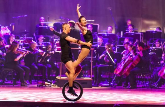 Notes and acrobats tumble and soar in this spectacular fusion
