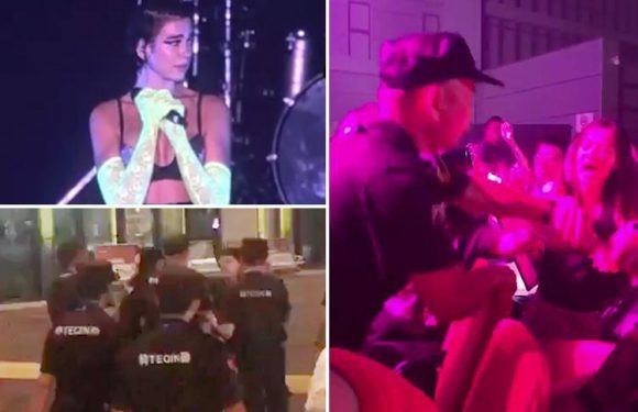 Dua Lipa 'in tears' as fans are kicked out of China concert for DANCING by heavy handed cops who 'threatened to beat up teens if they resisted'