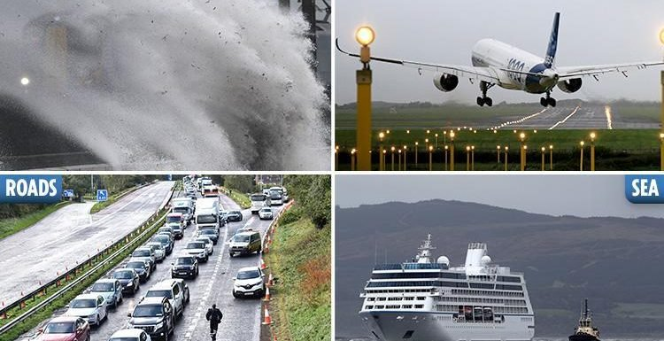 Storm Ali wreaks travel chaos with 100mph winds as flights diverted, trains cancelled, motorways blocked and even packed CRUISE SHIPS cast adrift