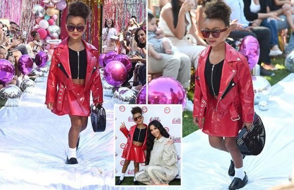 Kim and Kanye's daughter North West struts her stuff on the catwalk