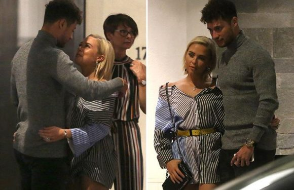 Gabby Allen and Myles Stephenson can't keep their hands off each other as they cuddle on date night in London