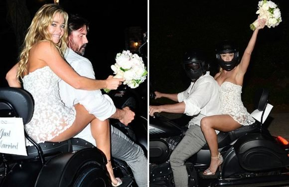 Denise Richards leaves her wedding on a motorbike after tying the knot with second husband Aaron Phypers