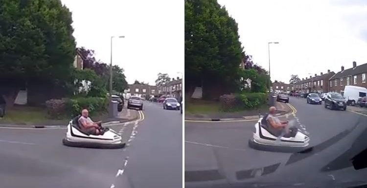 Middle-aged man spotted casually driving fairground bumper car down public road in Essex