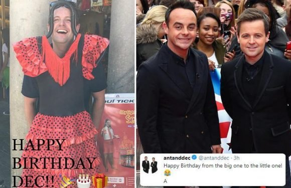 Ant McPartlin has a cheeky dig at Declan Donnelly on his birthday as he calls him 'little one' and posts a picture of him 'wearing a dress'