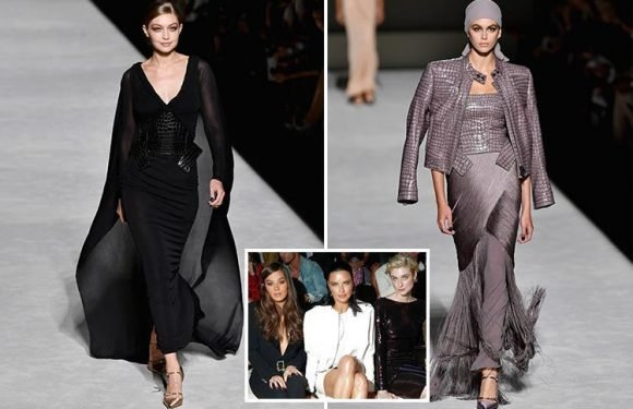 Gigi Hadid wows in plunging black gown and Kaia Gerber shows off wild side in crocodile jacket as New York Fashion Week kicks off
