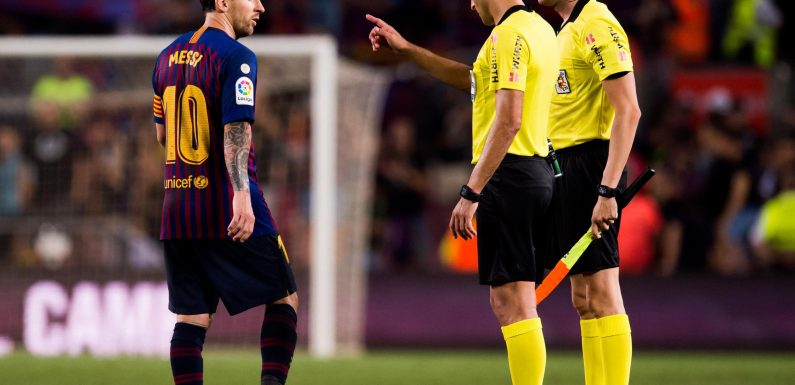 Lionel Messi refused to shake referee's hand after Barcelona team-mate Clement Lenglet was sent off