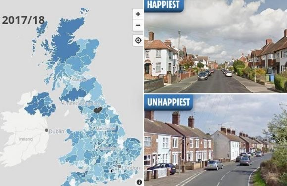 How happy is YOUR town? This clever map reveals the happiest places to live in Britain