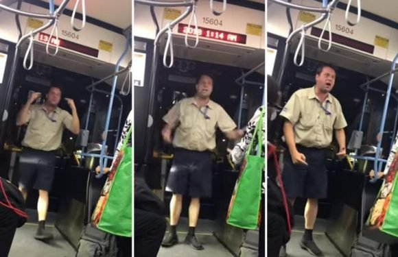 Bus driver caught on camera swearing and confronting passengers screaming about how stressful his job is