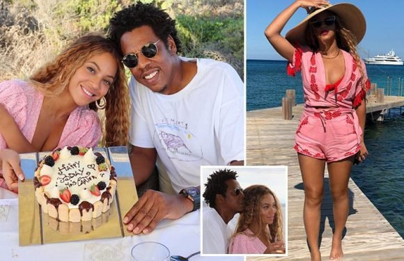 Beyonce sips wine and scoffs cake as she celebrates her birthday with Jay Z