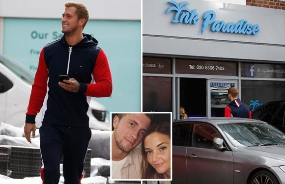 Dan Osborne can't stop smiling as he heads to tattoo shop after romantic date night with Jacqueline Jossa