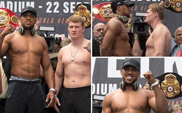 Anthony Joshua weighs in TWO STONE heavier than Alexander Povetkin as he reveals fight plan for Wembley