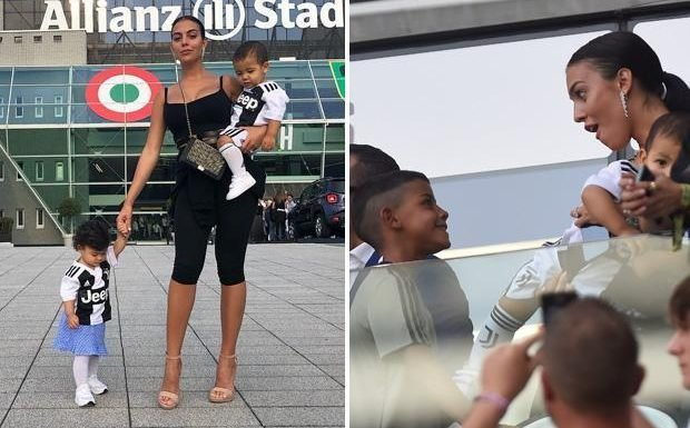 Georgina Rodriguez and Cristiano Ronaldo Jr watch on as dad scores first goals for Juventus against Sassuolo