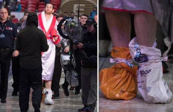 David Price forced to wear Sainsbury's shopping bags on FEET for ring walk to stop them getting wet ahead of Wembley fight