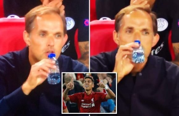 PSG boss Thomas Tuchel sipping from a tiny water bottle after Roberto Firmino's winner for Liverpool had footy fans in stitches