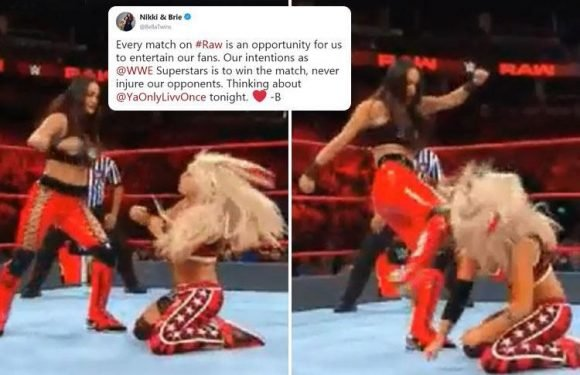 WWE star Liv Morgan knocked out live on TV after being kicked in head twice by Brie Bella in horror Monday Night RAW botch