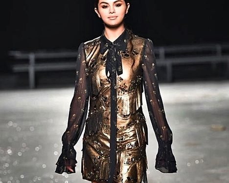 Selena Gomez Wore Gold and Super Long Sleeves to Coach's NYFW Show