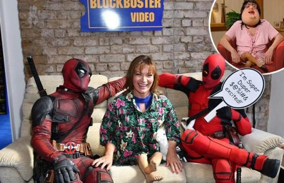Lorraine Kelly slips into her Bo Selecta costume to pose in a Blockbuster shop for Deadpool 2 advert