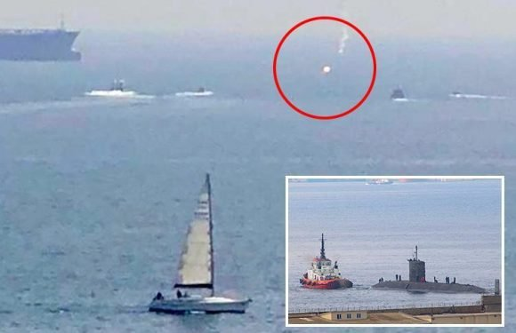 Royal Navy fires flare at Spanish vessel in Gibraltar after it ventures too close to nuclear submarine HMS Talent