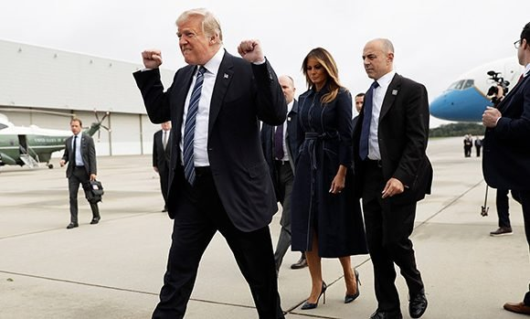 Donald Trump Slammed For Fist-Pumping As He Arrived At 9/11 Memorial Service