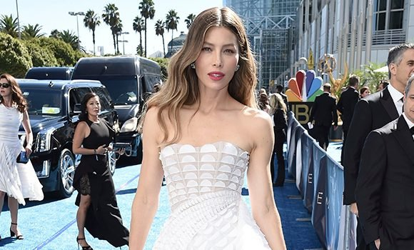 Jessica Biel Shines In White Strapless Dress At Her First Emmys As A Nominee