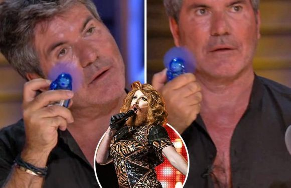 X Factor fans in hysterics as Simon Cowell furiously fans himself and clicks his fingers to bearded drag queen's audition