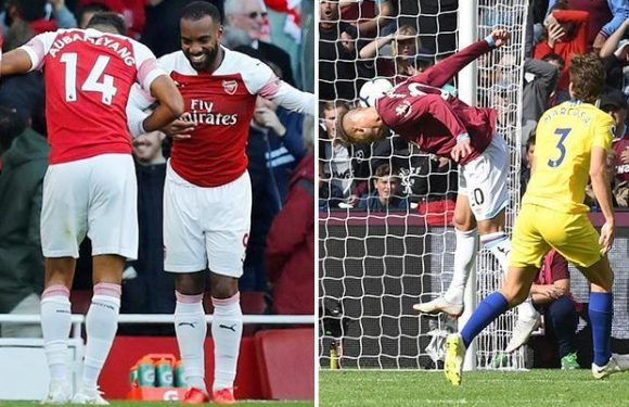Premier League highlights: Yarmolenko with miss of the season contender as Lacazette and Aubameyang strike