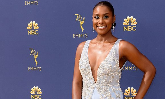 Issa Rae Sparkles In An Icy Blue, Bedazzled Two-Piece At The 2018 Emmy Awards
