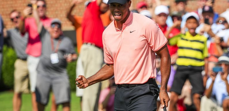 Tiger Woods surges into lead at Tour Championship