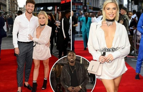 Myles Stephenson and Gabby Allen come close to awkward run in with her ex Marcel Somerville at film premiere