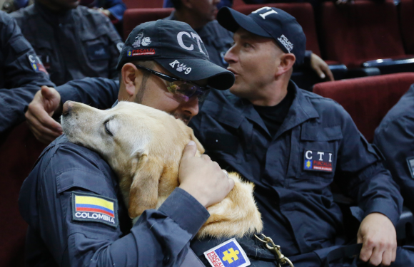 Colombia honors 14 sniffer dogs at emotional retirement