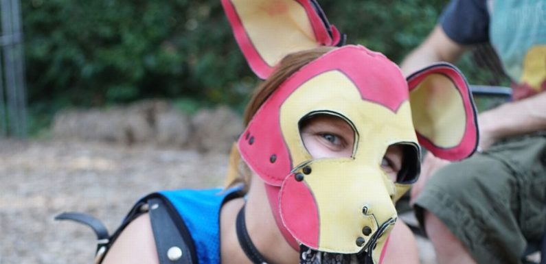 Man who identifies as dog wears a puppy mask that looks like Avenger's Iron Man