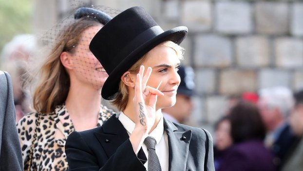 Cara Delevingne Wore a Top Hat and Coattails to Princess Eugenie's Wedding