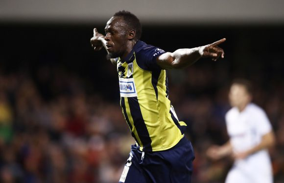 Watch Usain Bolt score two goals for Central Coast Mariners soccer team