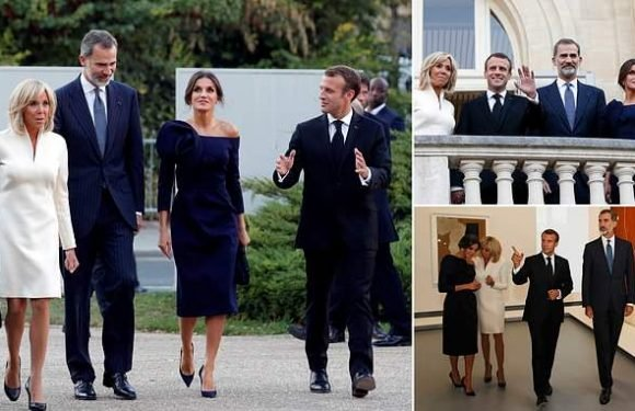 President Macron and his wife join Spanish royals at Paris exhibition