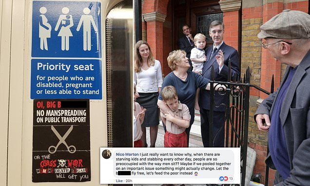 Group who heckled Jacob Rees Mogg puts anti-manspreading signs on Tube