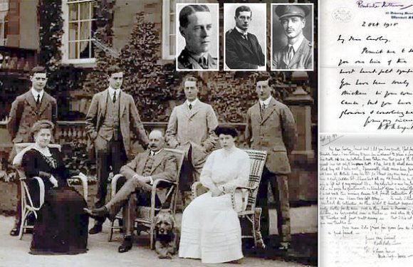 Letters to parents of three brave brothers killed in WW1 auctioned
