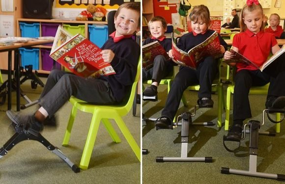 Primary school installs pedals under desks and makes pupils spin them in bid to cut childhood obesity