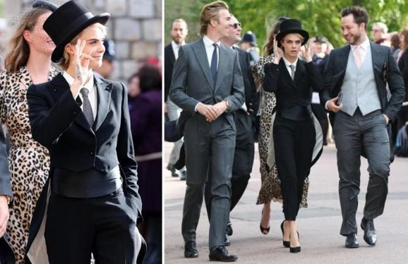 Cara Delevingne compared to 'Artful Dodger' at Princess Eugenie's wedding after she wears bizarre top hat and suit