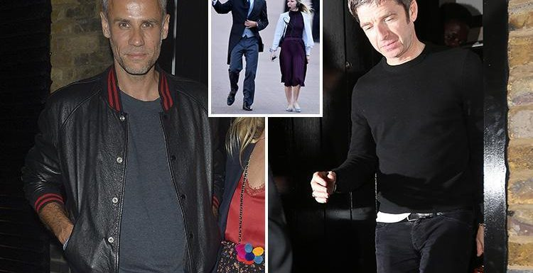 Richard Bacon ditches his Royal Wedding suit for leather jacket as he parties with Noel Gallagher at Chiltern Firehouse