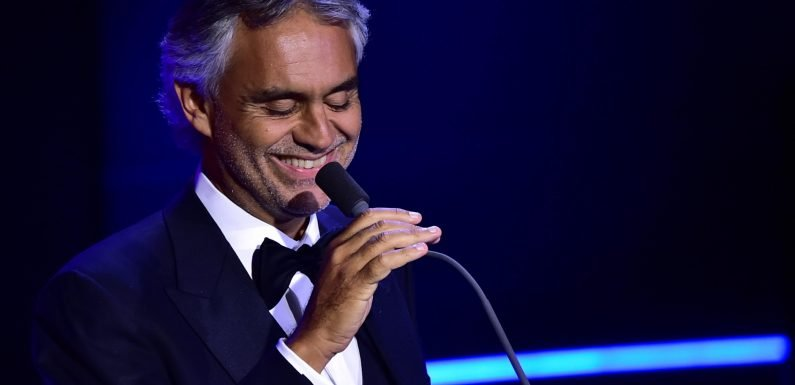 How old is Andrea Bocelli, what songs is he performing at Princess Eugenie's wedding and when did he lose his sight?